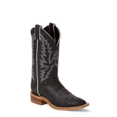 Justin Black Burnished Calf Boots N Britches