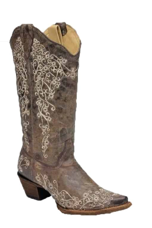 Corral Brown Crater With Bone Embroidery Cowgirl Boots Snip Toe