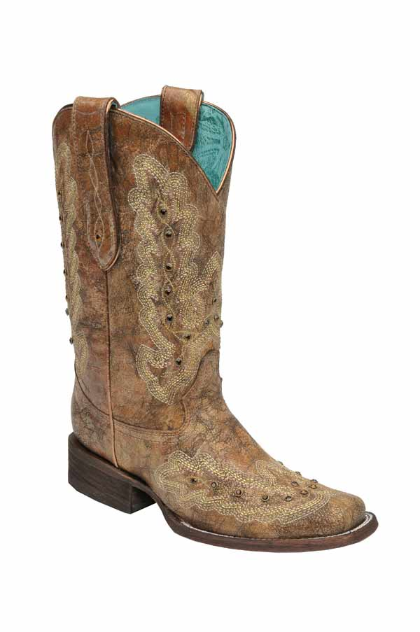 Corral Ladies Metallic Cognac Stitching And Stones Boots