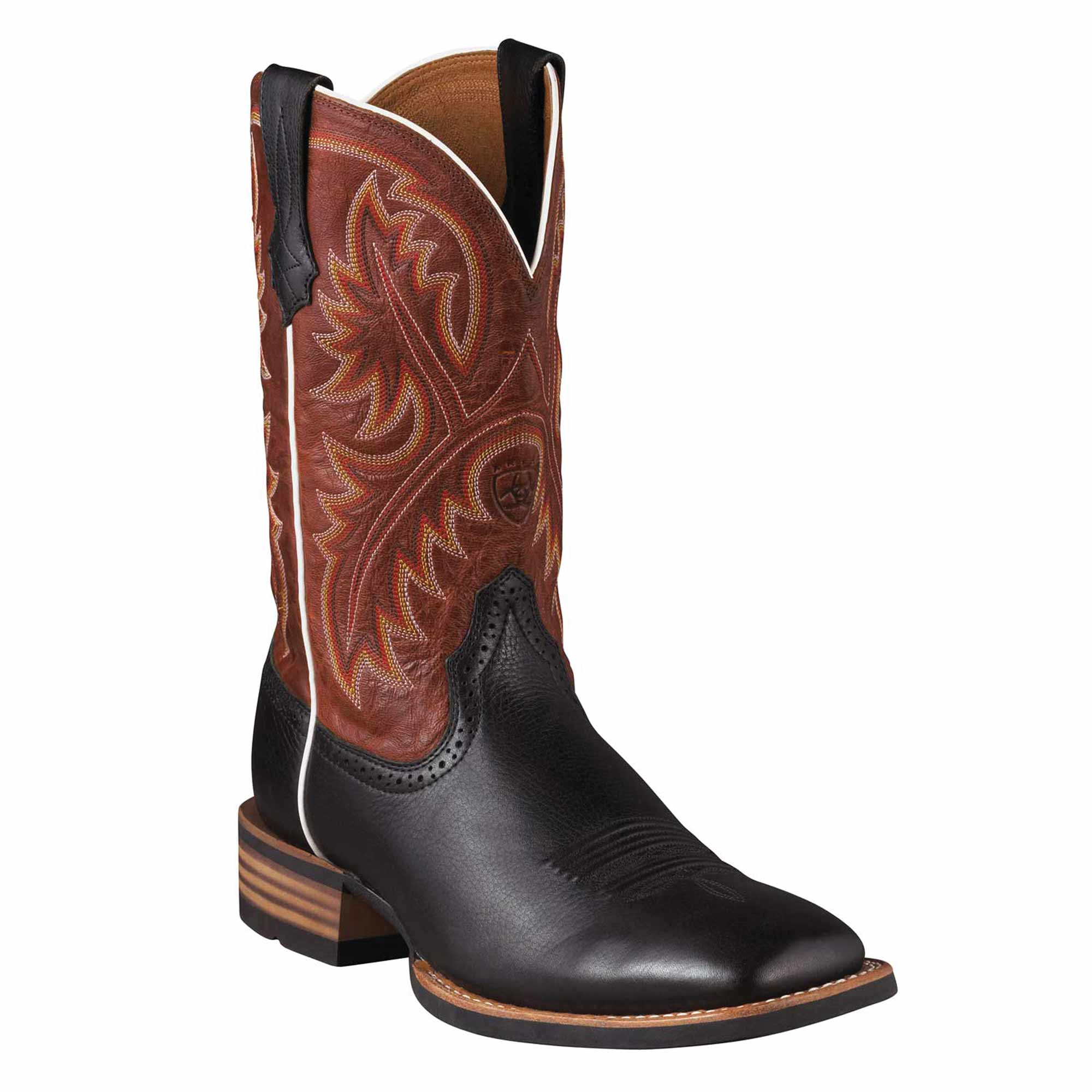 9a4b5121f5e Ariat Western Boots Mens Quickdraw Black Deertan with Washed Adobe Upper.
