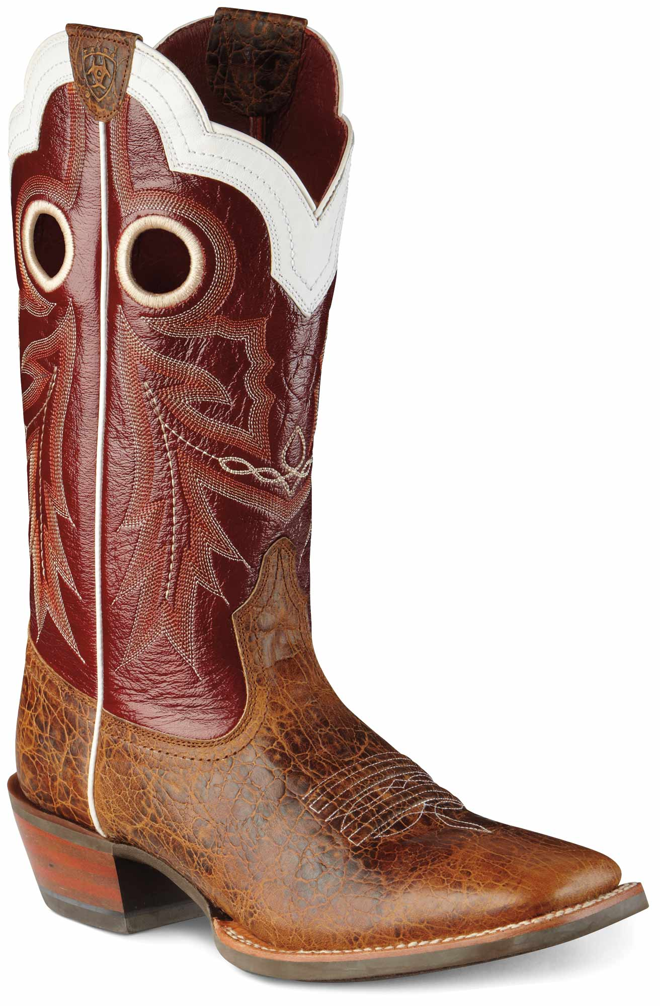 c3ff87aa486 Ariat Western Boots Mens Wildstock Adobe Clay Foot with Red Light Upper