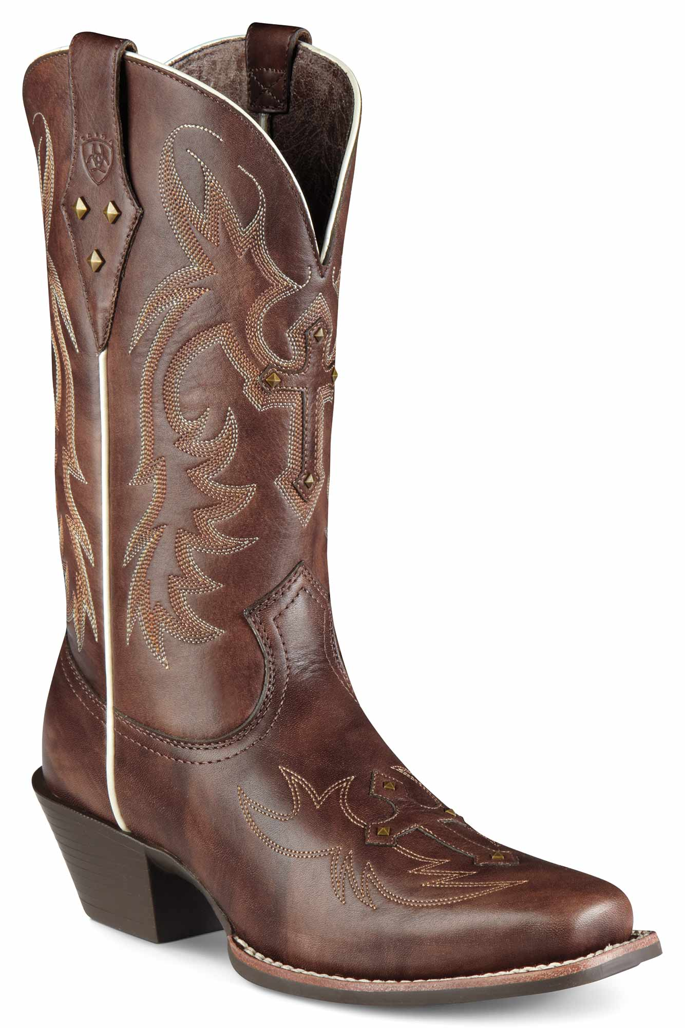 a761d8edcc2 Ariat Western Boots Women's Legend Spirit Yukon Brown with Cross Overlay