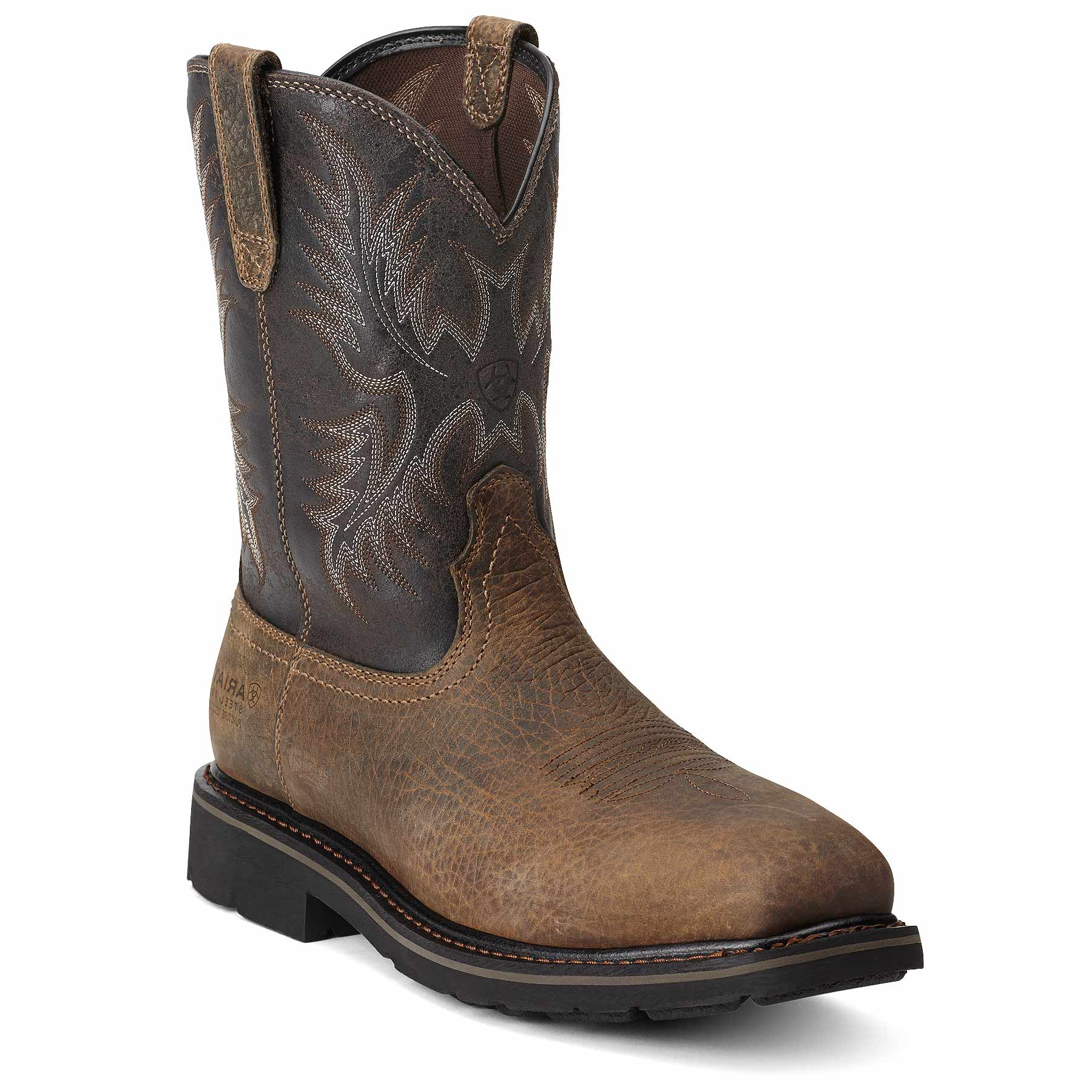 Men's Ariat Sierra Wide Square Steel Toe Puncture Boot, Size: 7.5 D, Earth/Black Crunch Full Grain Leather