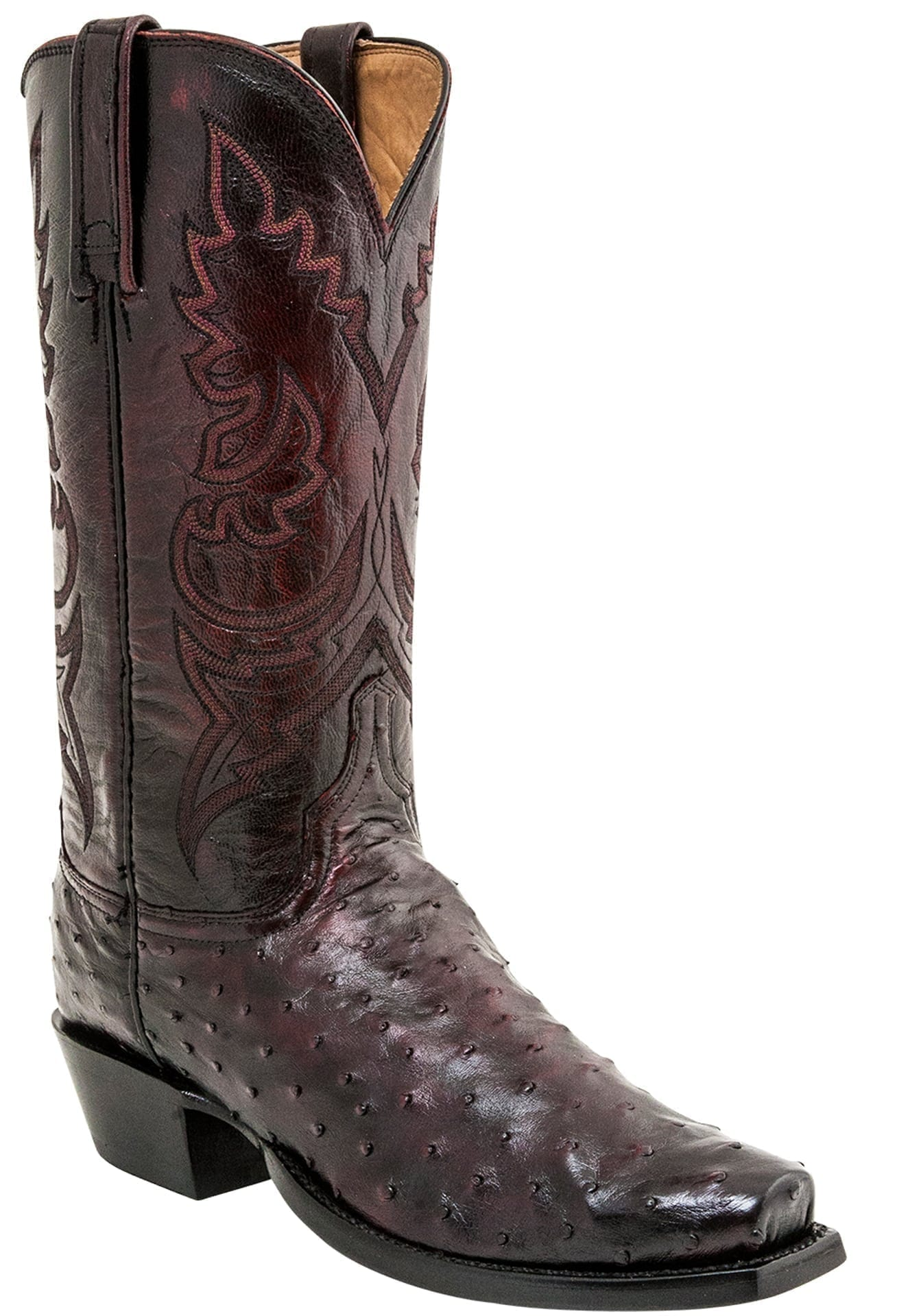 Lucchese Men S Heritage Black Cherry Full Quill Ostrich